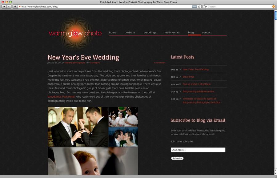 Warm Glow Photo site - blog