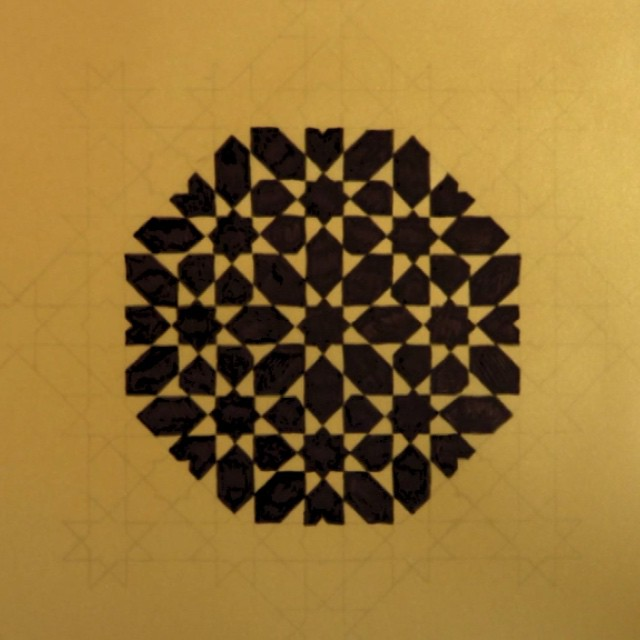 A simple #stopframeanimation of this pattern coming into being.. #stopmotion #octagon #octagram #geometry #geometric #animation #islamicgeometry #islamicpattern #pattern #shapes #sharpie #ink #gold #paper #frame