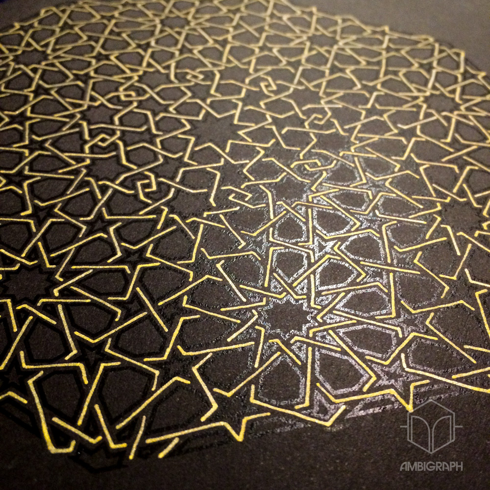Digital print on black paper with gold ink