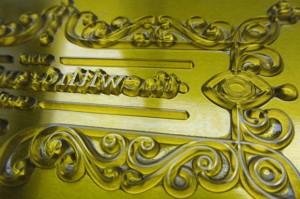 custom letterpress block close up